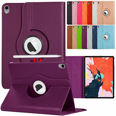 """For iPad Pro 11"""" 12.9"""" 2018 Rotating Leather Case Wireless Pencil Charging Slot"""