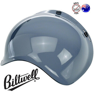 NEW Biltwell Bubble Shield - Smoke Visor Open Face - Motorcycle Helmet Screen