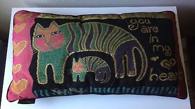 """Laurel Burch """"You are In My Heart"""" Colorful Kitty Cat Tapestry Throw Pillow"""