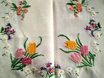 Exquiste Spring Flowers ~ Vintage Hand Embroidered Tablecloth; Tulips,Violets++