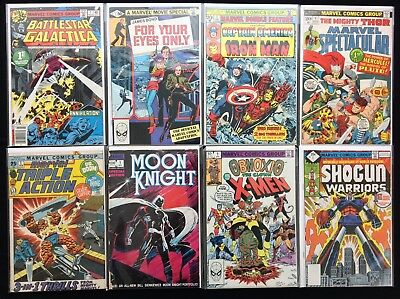 ALL #1 ISSUE MARVEL BRONZE Lot of 8 Comics - Dbl Feature, X-Men, Moon Knight, +!