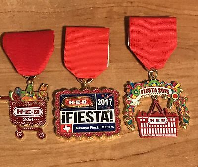 FREE SHIPPING! HEB Fiesta Medals 2016, 2017, & 2018 Lot Of 3 NEW~NIP!