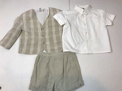 Vintage Baby TOGS Baby Boy Outfit Size 24 Month Beige 3 Piece Coat Shirt Shorts