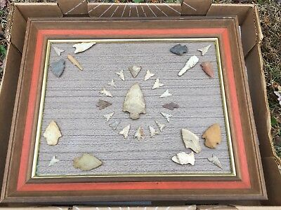 Old Framed Native Americans Indian Artifacts Nice Arrowheads