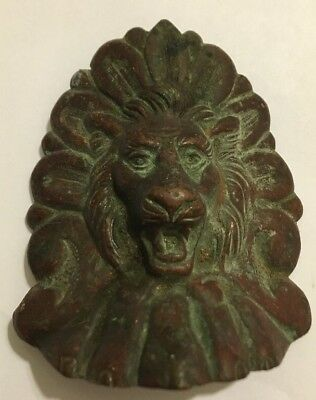 Antique Furniture Hardware -Bronze/Brass Lion Head with Patina