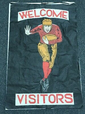 """Original Early Vintage Football Banner Sign - """"welcome Visitors"""" - Rare"""