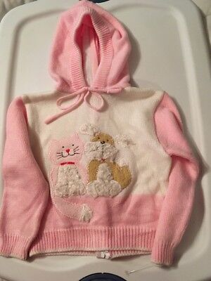 Vintage Girls Sweater Size 24months. Zipper Back
