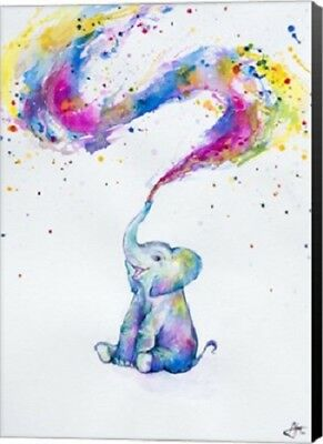 ELEPHANT ART CANVAS BY MARK ALLANTE bright colors with black borders 25.5x36