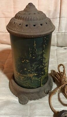Antique Arts & Crafts Forest Fire Turning Motion Electric Cast Iron Lamp