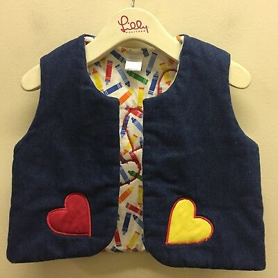 Vtg 70s Toddler Puffy Vest Reversible Insulated Hearts Carol Jean Cotton Blend