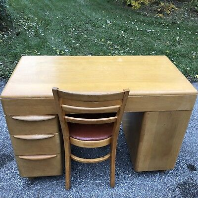 Rare Heywood Wakefield Mid Century Deco Modern Desk M314W 1951  Wheat With Chair