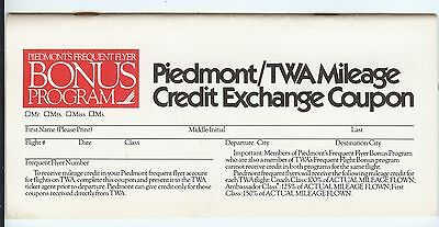 Piedmont Airlines / TWA Mileage Credit Exchange Coupon Great Airline Collectable