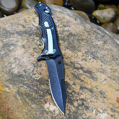 Pocket knife BLACK TACTICAL Spring Assisted Opening Folding RESCUE