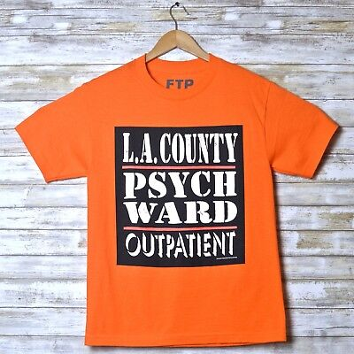 aca021707 FTP L A County Psych Ward OUTPATIENT Men's Tee T Shirt Orange Size S Small  Rare