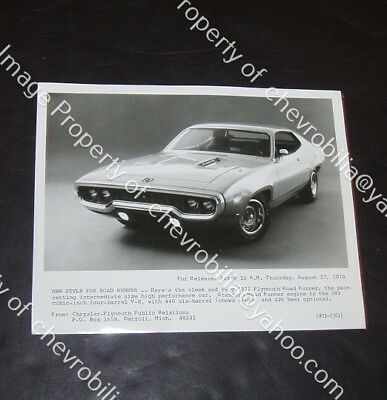 "1971 Plymouth ROAD RUNNER 440 SIX PACK 8x10"" PRESS PHOTO Rapid Transit System"