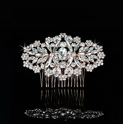 Wedding Bridal Rose Gold Crystal Classic Hair Comb Diamante Headpiece Vintage