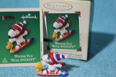 2002 Miniature Hallmark 5th in the series Winter Fun With SNOOPY with Woodstock