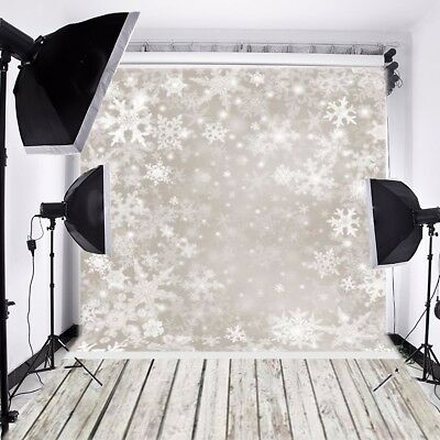 UK 5x7ft Vinyl Backdrop Christmas Photography Snowflake Scene Theme Background