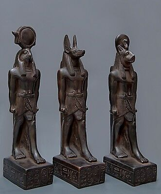 EGYPTIAN Goddesses STATUE Antique ANUBIS and HORUS SEKHMET EGYPT Carved Stone BC