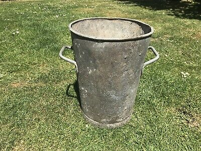 Genuine Vintage Galvanised Flower Bucket Rivited Handles Garden Planters Display