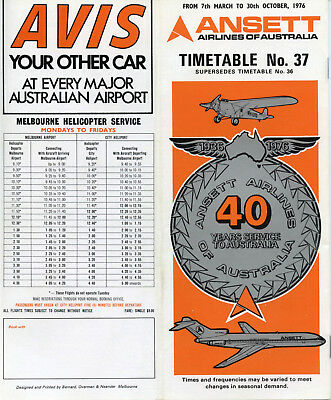 Ansett Airlines Of Australia Timetable 7 March 1976