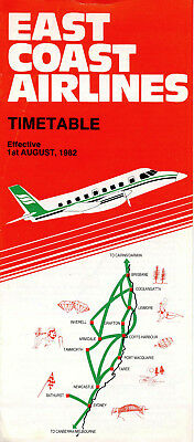 East Coast Airlines Timetable 1  August  1982