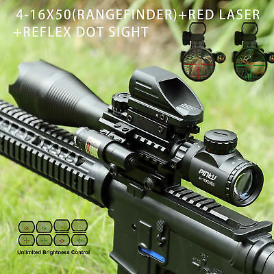 4-16x50 Rangefinder Rifle Scope w/ Green/Red Dot Sight Scope and Red Laser