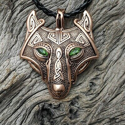 Antique Bronze Tone Celtic Viking Wolf Head With Green Eyes Pendant Necklace