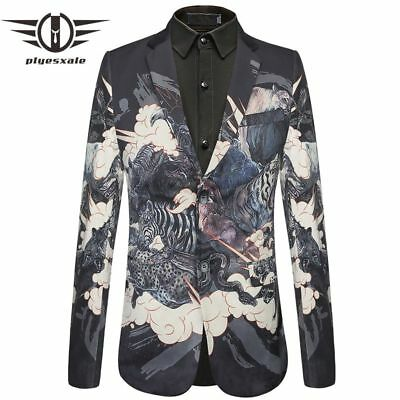 Slim Fit Mens Velvet Blazers Bear Tiger Crocodile Pattern Printed Blazer Jacket