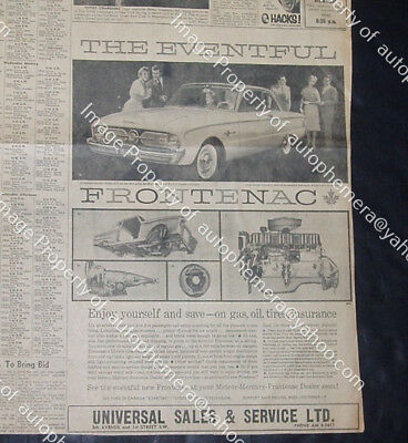 "1960 FORD FRONTENAC Canadian FALCON Original Announcement 11x16"" NEWSPAPER AD"