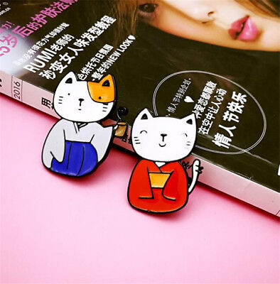 1 Pair Japanese Kimono Cats Brooch Pins Kawii Cute Collar Badges Jewelry 2pcs A
