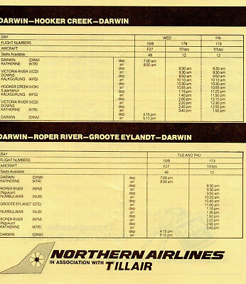 Northern Airlines Darwin Timetable & Letter   November 1980