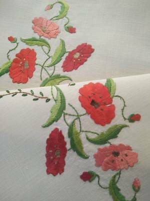 Outstanding Poppy Flowers ~ Vintage Hand Embroidered Centrepiece