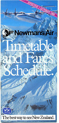 Newmans Air Of New Zealand Timetable  1 October 1985