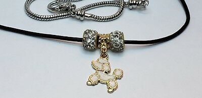 White poodle European Crystal Clay Bead Charm U Choose Necklace/ Bracelet 487t