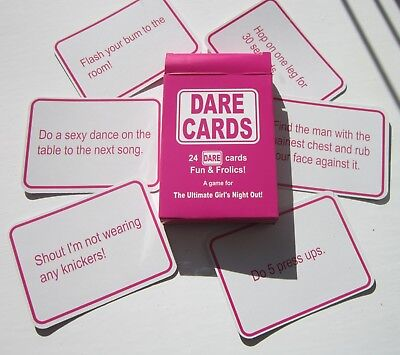 24 DARE CARDS HEN PARTY GAMES | HEN NIGHT | Girls Night Out | Fun & Frolics!