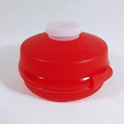 Tupperware Round Sandwich Keeper 4440 Red Bagel Salad Taker For Work