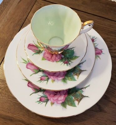 """Vintage Paragon China Trio and sandwich plate Harry Wheatcroft Roses """"Prelude"""""""