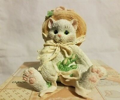 "New Nib Nos 1992 Enesco Calico Kittens ""friendship Blossomed"" 627887 W/box &tags"