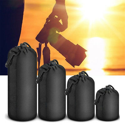 Neoprene Camera Lens Pouch Soft Bag Case Protector For Canon Nikon Sony DSLR 4SZ