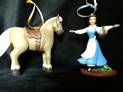 Disney Beauty and the Beast Belle and Philippe Christmas Ornament blue dress