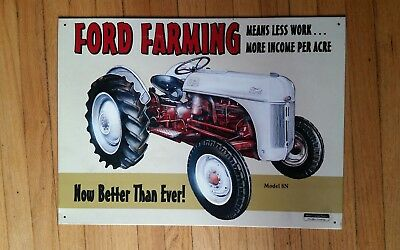 Ford Farming Model 8N Tractor 1998 Metal Wall Sign, 16 by 11.5 inches