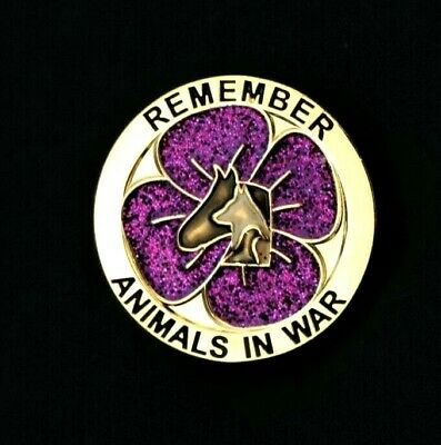 Purple Poppy Glitter  - Animals In War - Remembrance Badge - Gold          (P14)