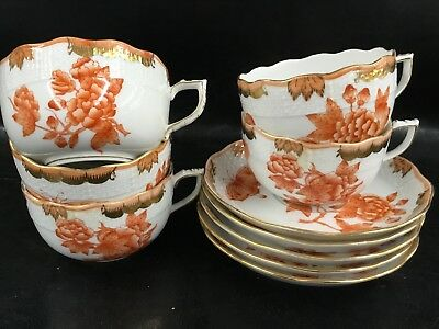 Herend Set of 5 Cups and Saucers Rust Fortuna Butterfly 724 Scalloped Top Rim