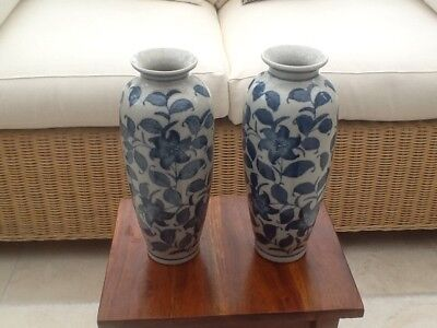Pair Of 10ins. Blue Crackle Vases Chinese Flower Design