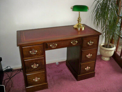 Mahogany Twin Pedestal Desk. Leather Top & Brass Handles. Plus Bankers Lamp.