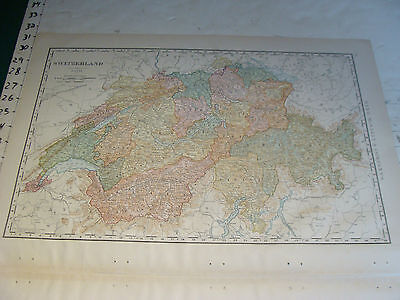"Vintage Original 1898 Rand McNally Map: SWITZERLAND aprox 15 x 21"" plus index"