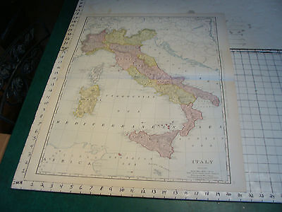 Vintage Original 1898 Rand McNally Map: ITALY aprox 28 x 21""