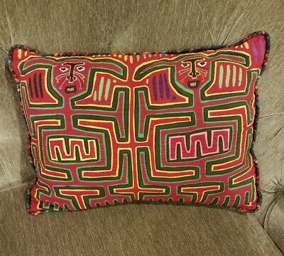Vintage Pillow folk art applique fabric Kuna hand made by Mola Indians of Panama
