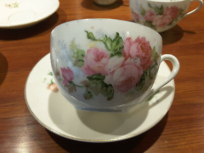 Antique German porcelain 5 cups & saucers pink rose pattern ca. late 1800's